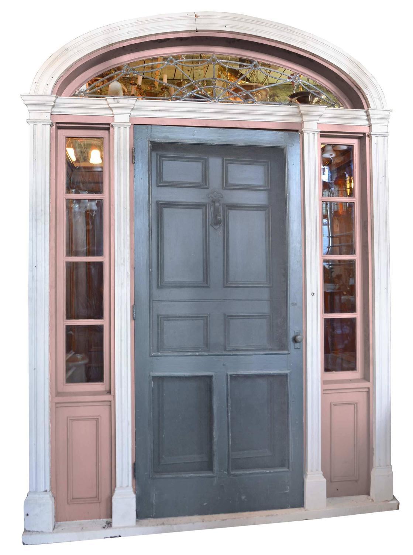 Complete Walnut Entry Door And Paneled Vestibule Circa