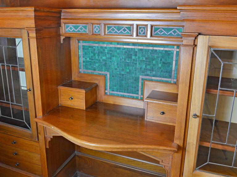 Walnut study with built in bookcase desk and four signed for Case in stile williamsburg