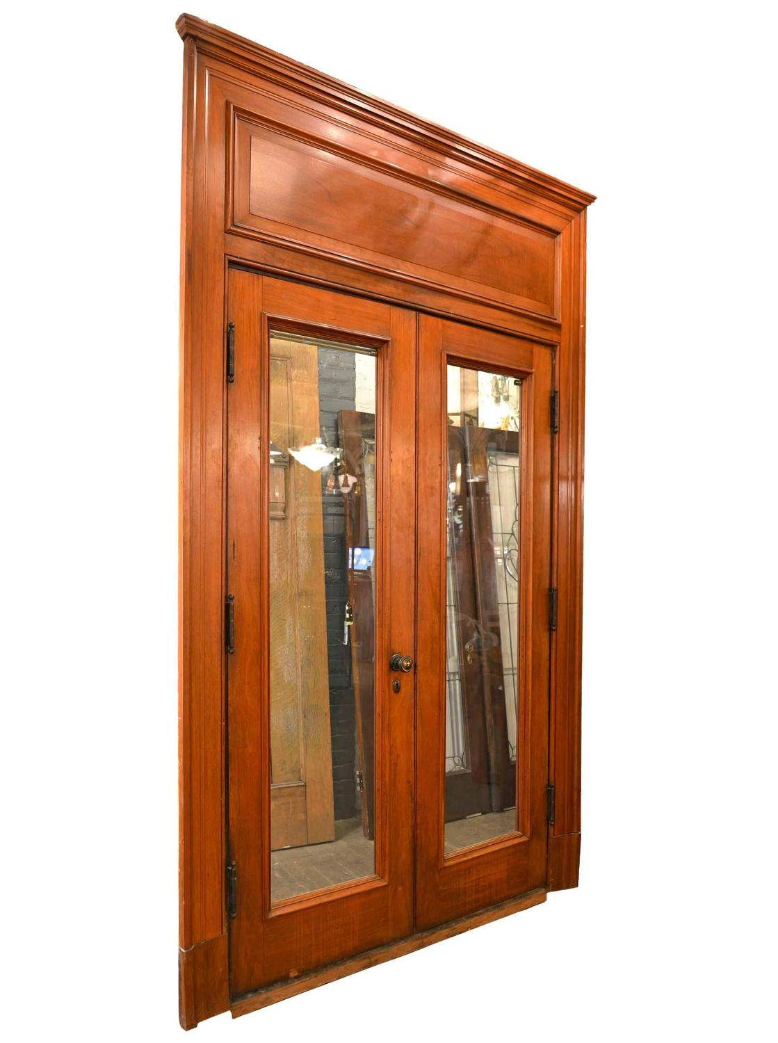 Walnut full view french door unit with oversized paneled - Oversized exterior doors for sale ...