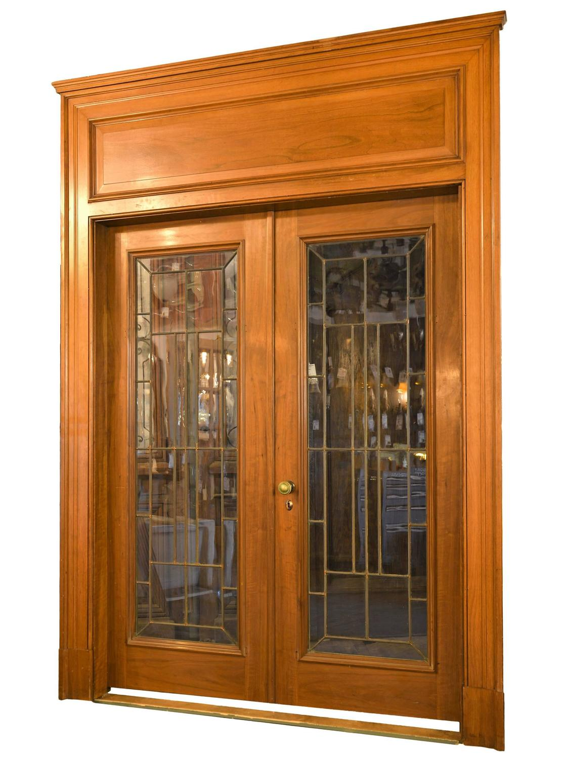 Walnut leaded glass french door unit with oversized for Double wide french doors