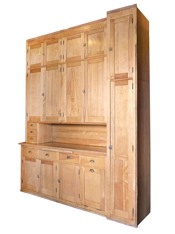 Pristine 1920s Maple Kitchen Cabinet With Original Brass
