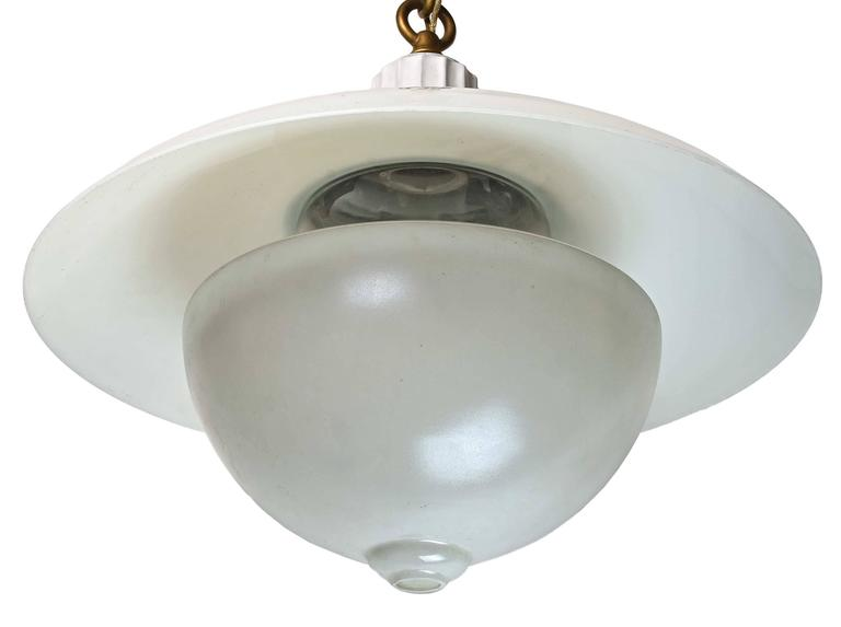 Early American 'Denzar' Two-Piece Shade and Enameled Fixture by Beardslee 3