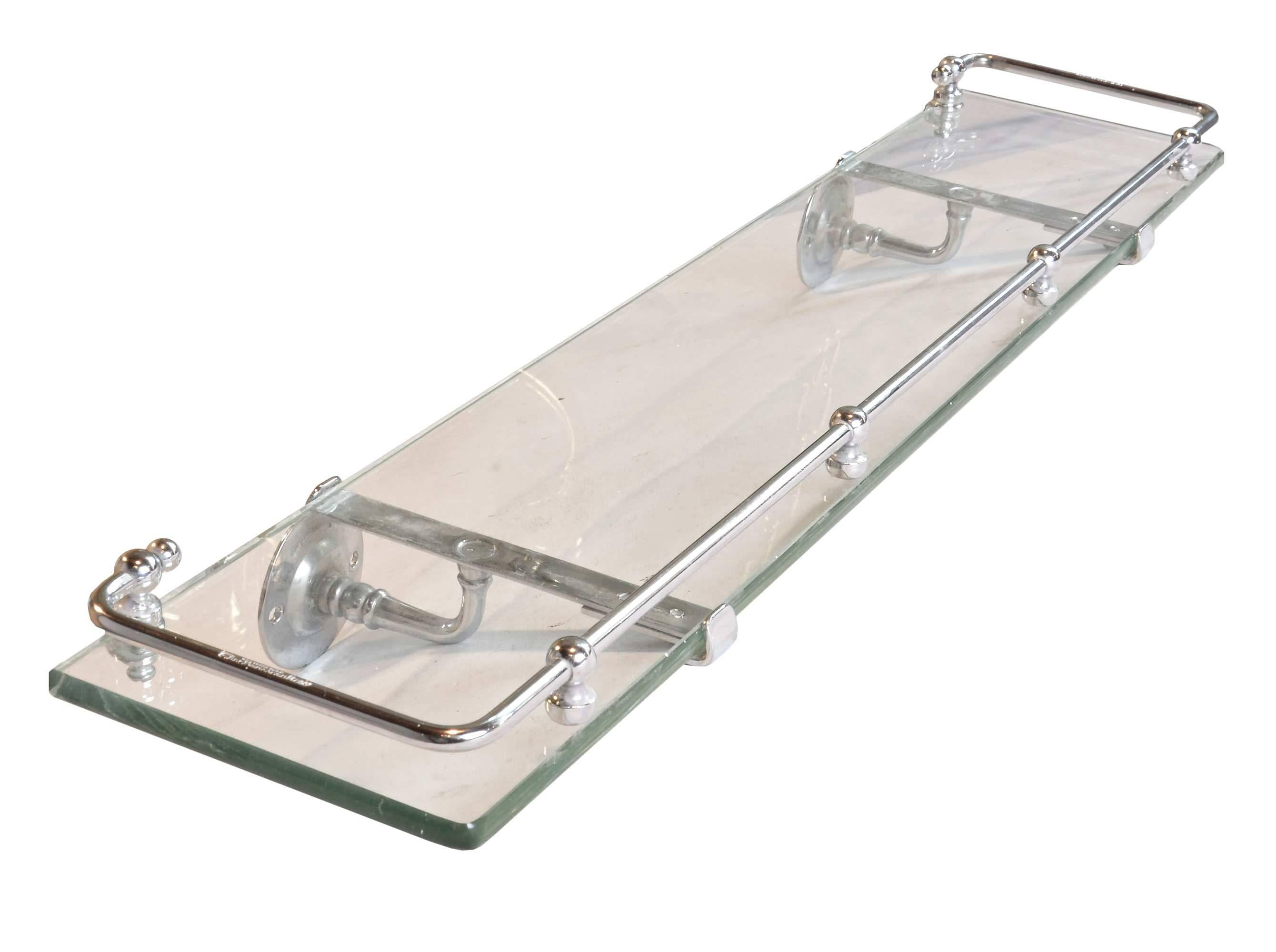 Nickel-Plated Glass Bath Shelf with Rail by Brasscrafters, circa ...