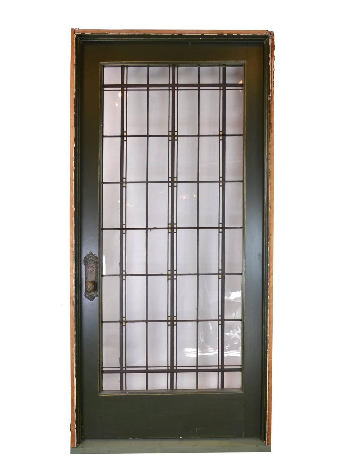 1500 #935F38 Tudor Leaded Glass Entry Door With Original Antwerp Lion Knob Set  picture/photo Leaded Glass Exterior Doors 40291149