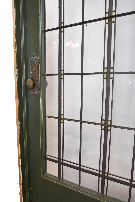 Tudor Leaded Glass Entry Door With Original Antwerp Lion