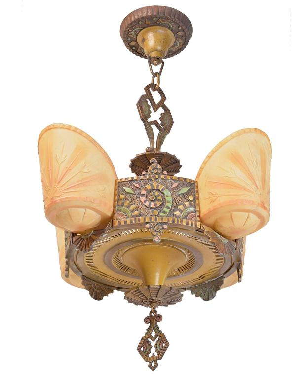 Produced by Williamson & Co, Chicago's Premium lighting supplier in the  1930s, this chandelier - Beardslee Williamson Polychrome Art Deco Slip Shade Chandelier For