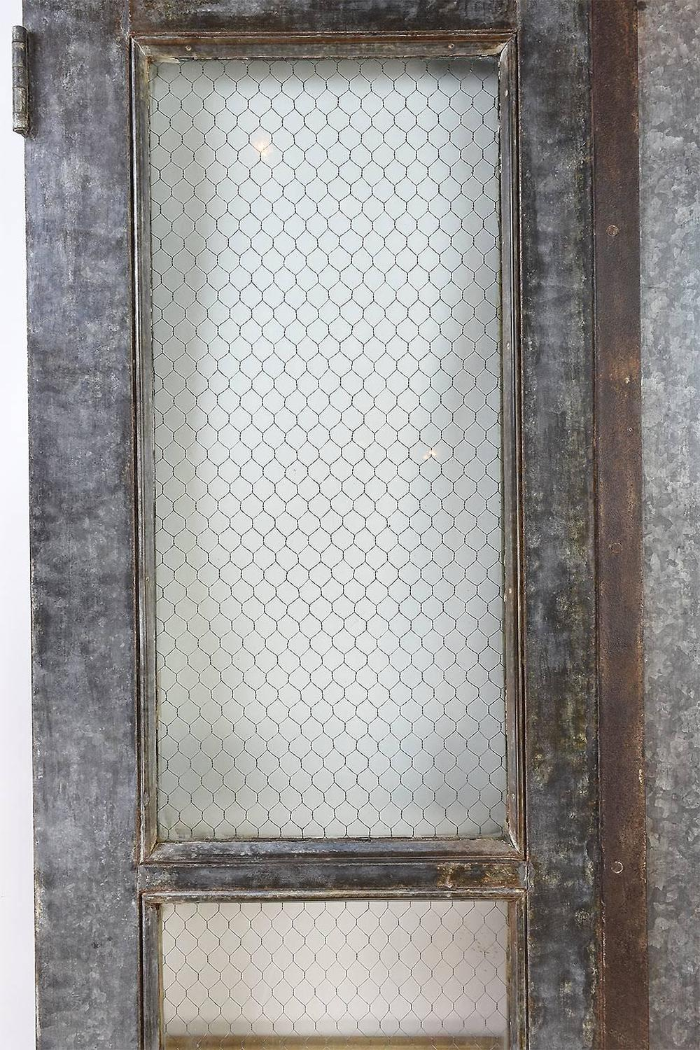 Vintage Industrial Double Door Set With Chicken Wire Glass