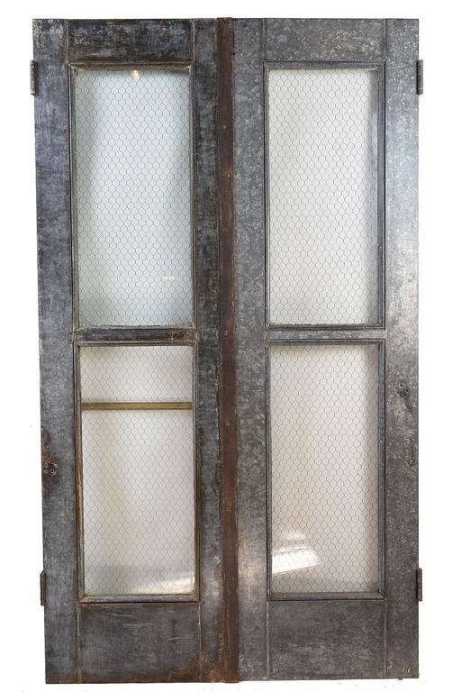 Glass Double Door vintage industrial double door set with chicken wire glass and