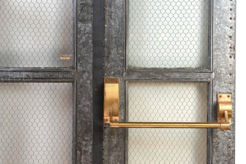 Vintage Industrial Fire Doors For Sale : Vintage industrial double door set with chicken wire glass