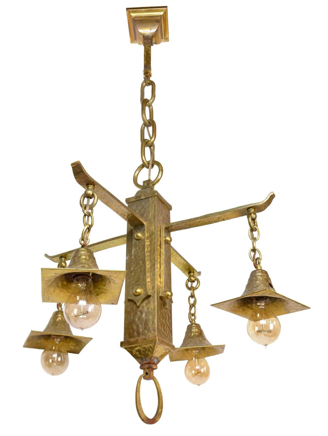 Early 20th century hammered arts and crafts four arm for Arts and crafts chandelier