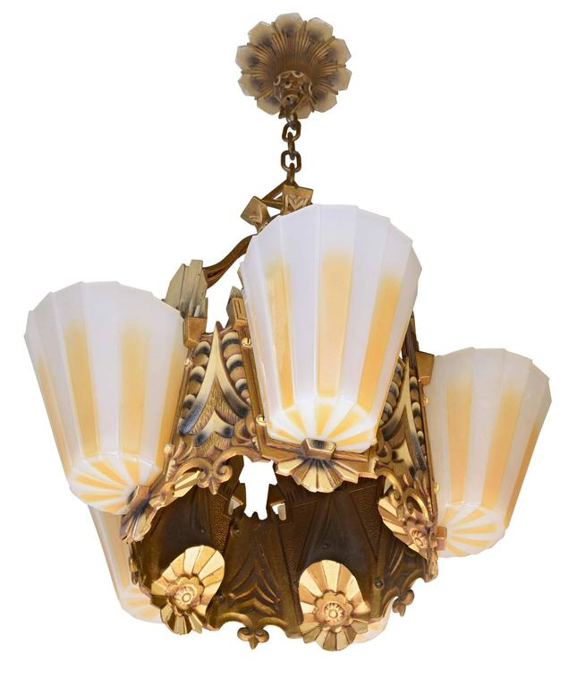 This Iron Five Light Slipper Shade Chandelier Has An Original Polychrome Finish And