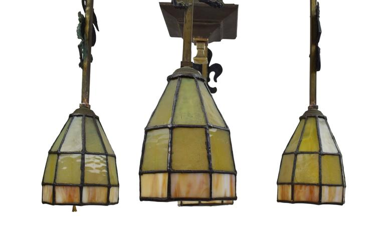 Gothic Arts and Crafts Chandelier with Emblems and Stained Glass Shades For Sale 1