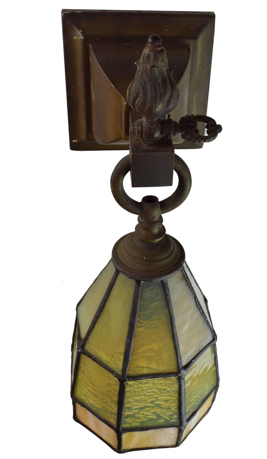 Stained Glass Light Fixtures Wall Sconces : Rare Arts and Crafts Sconce Pair with Stained Glass Shade For Sale at 1stdibs