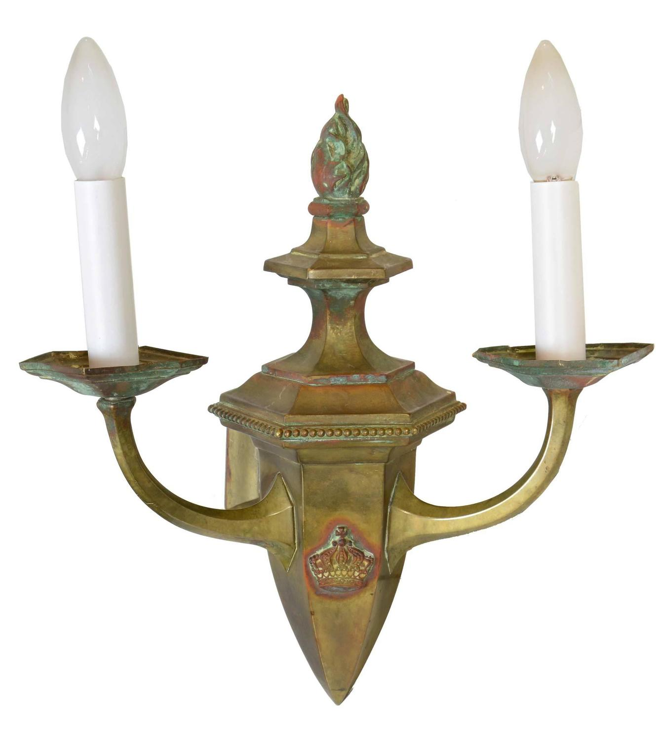 Colonial Electric Wall Sconces : Wonderful Early 20th Century Brass Gas/Electric Colonial Sconce at 1stdibs