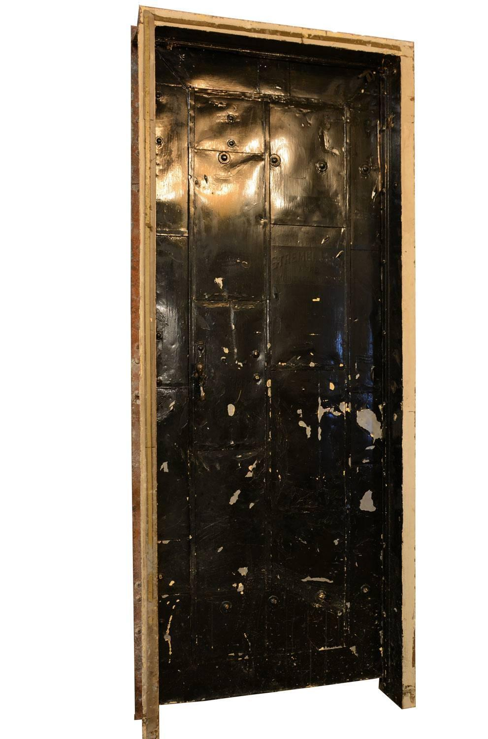 authentic stremel bros metal clad 1920s fire door with. Black Bedroom Furniture Sets. Home Design Ideas