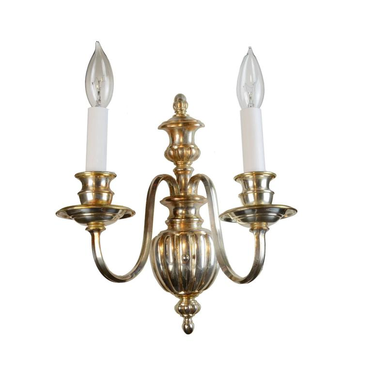 Silver Plated Two-Arm Sheffield Wall Sconce, circa 1920 For Sale at 1stdibs