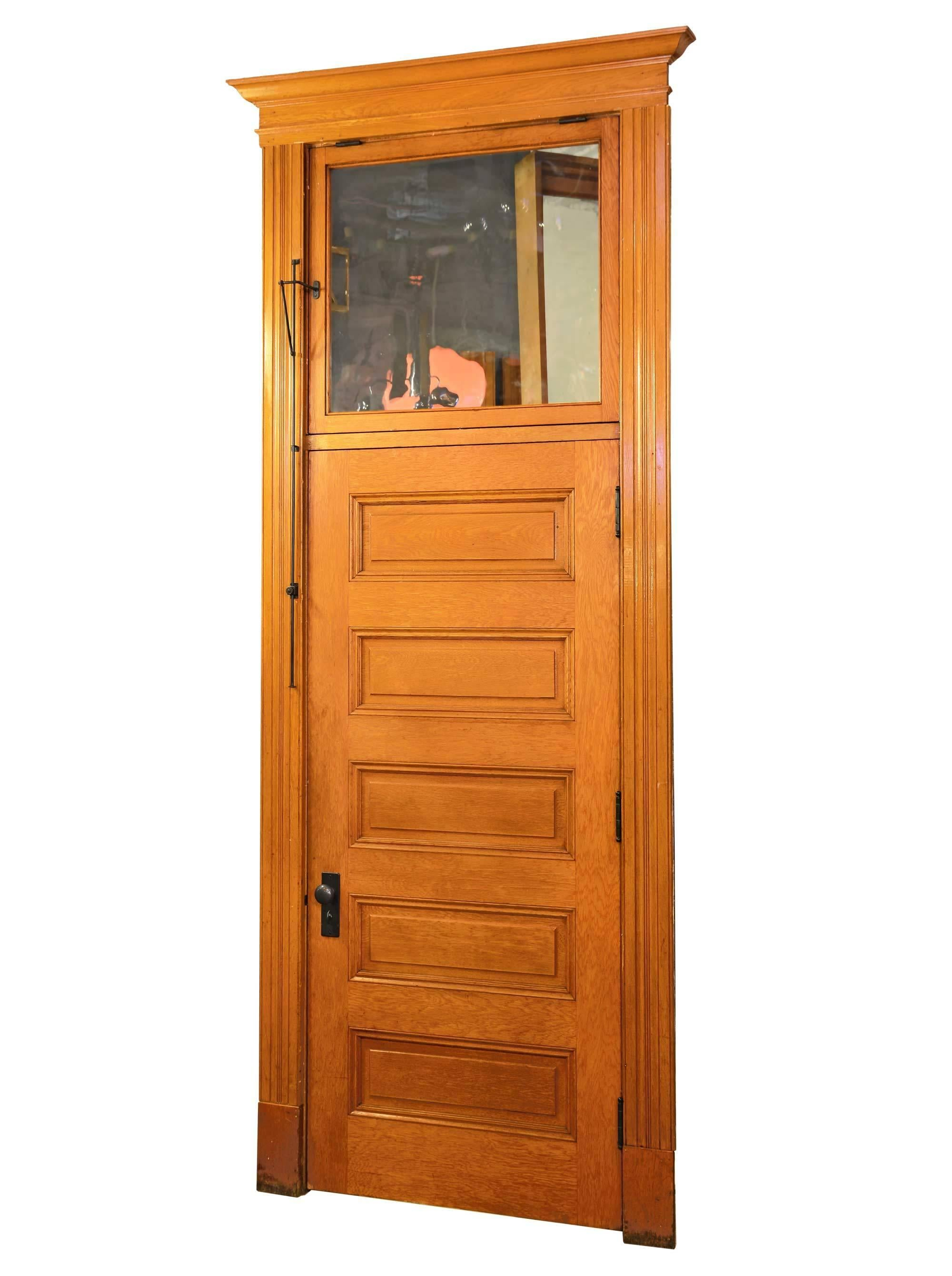 Red Oak Five Panel Doors With Transom Circa 1900 At 1stdibs
