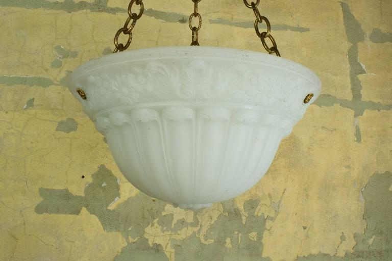 Fluted Cast Glass Bowl Fixture with Floral Decoration For Sale at ...