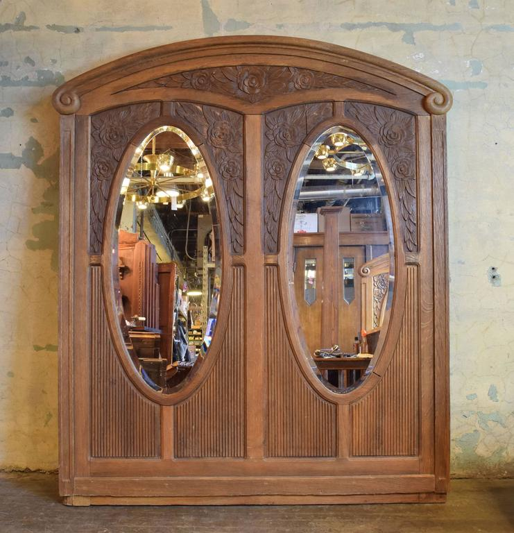 Victorian Early 20th Century Carved Oak Frame with Bevelled Glass Mirrors For Sale