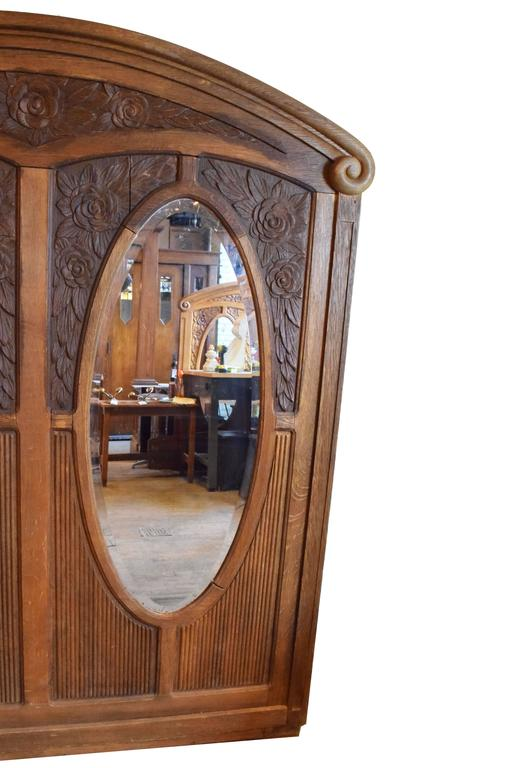 American Early 20th Century Carved Oak Frame with Bevelled Glass Mirrors For Sale