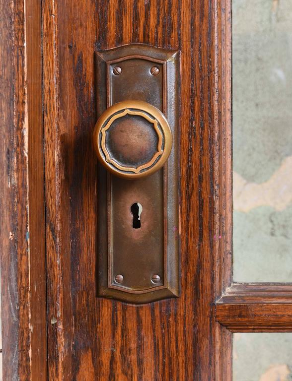 Industrial Oak School House Divided Light Door For Sale