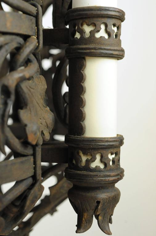 American Ornate Wrought Iron Tudor Chandelier For Sale