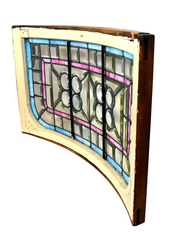 Early 20th Century Curved Victorian Window with Clam Roundels, circa 1900 For Sale