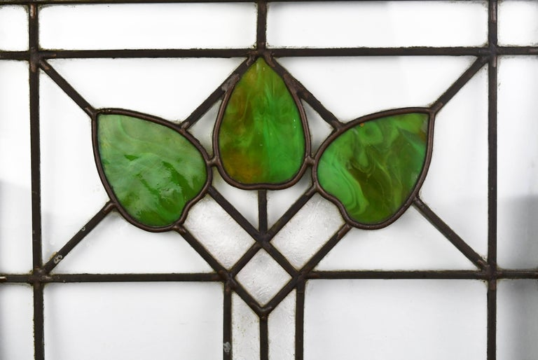 Arts And Crafts Stained Glass Window With Green Leaf