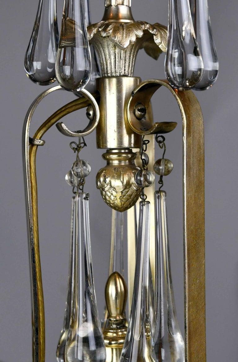 Metal Bradley & Hubbard Six-Arm Silver Plated Chandelier For Sale