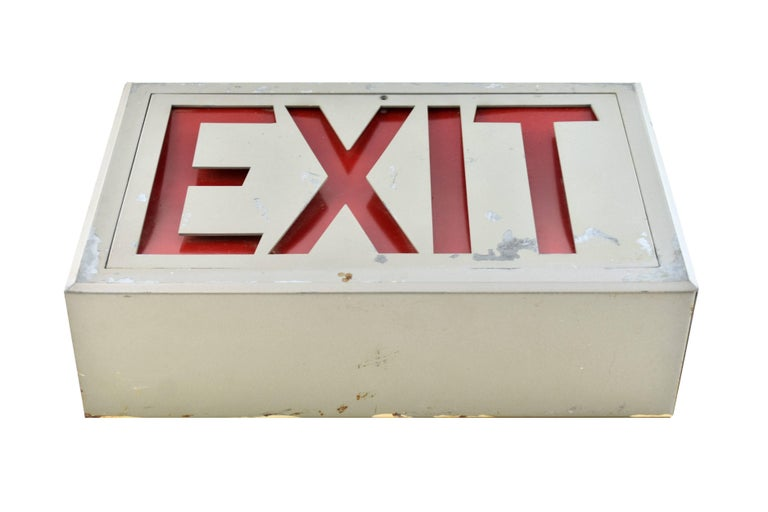 Steel exit signs with two variations. One has rounded edges and the other has sharp edges. Both light up!
