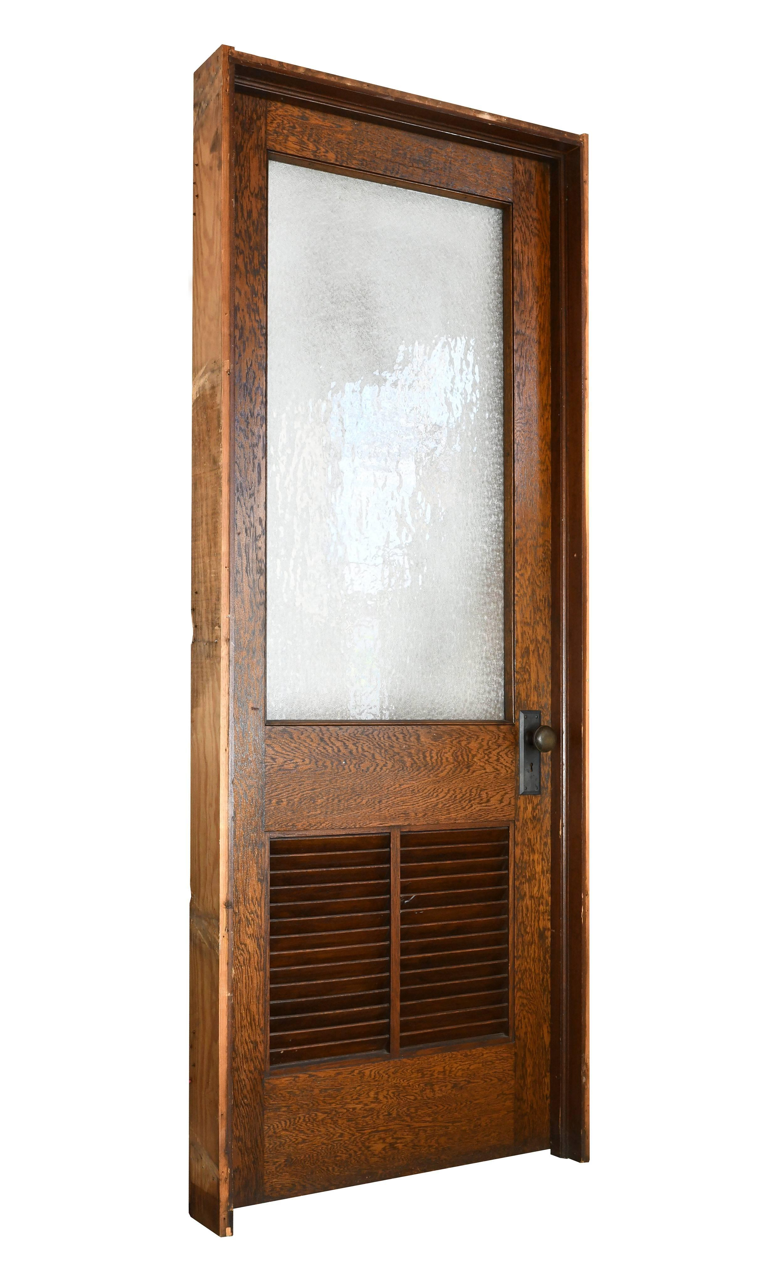 These oak schoolhouse doors feature highly contrasted wood grain textured snowflake glass wooden vent  sc 1 st  1stDibs & Oak Schoolhouse Door with Vent at 1stdibs