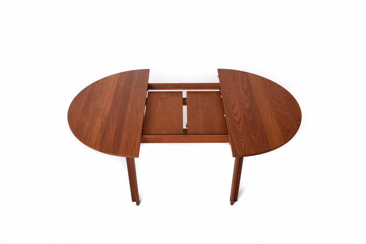 Danish Modern Round Solid Teak Dining Table With Two
