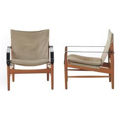 Teak and Suede Sling Chairs