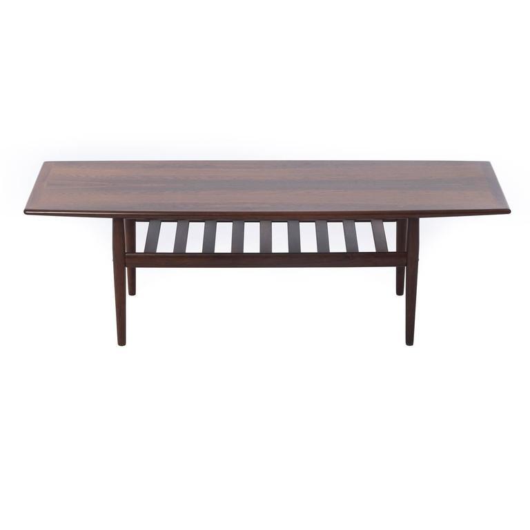Scandinavian Modern Danish Modern Rosewood Coffee Table with Shelf For Sale