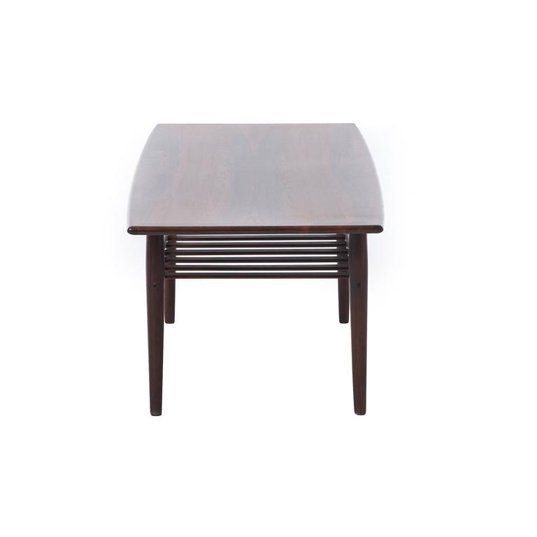 20th Century Danish Modern Rosewood Coffee Table with Shelf For Sale