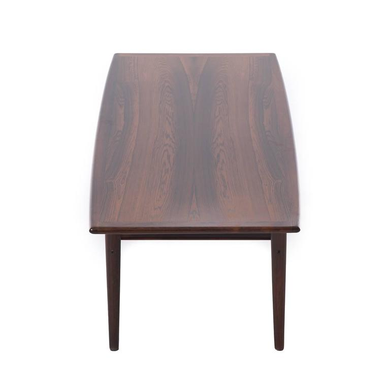 Danish Modern Rosewood Coffee Table with Shelf For Sale 1