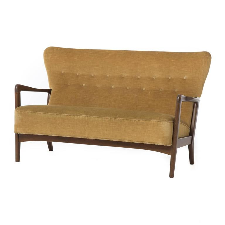 Transitional danish modern settee for sale at 1stdibs for Danish modern settee
