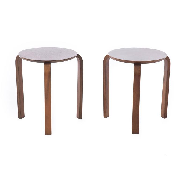 mid century modern stools. Mid-Century Modern Walnut Stacking Stools For Sale Mid Century S