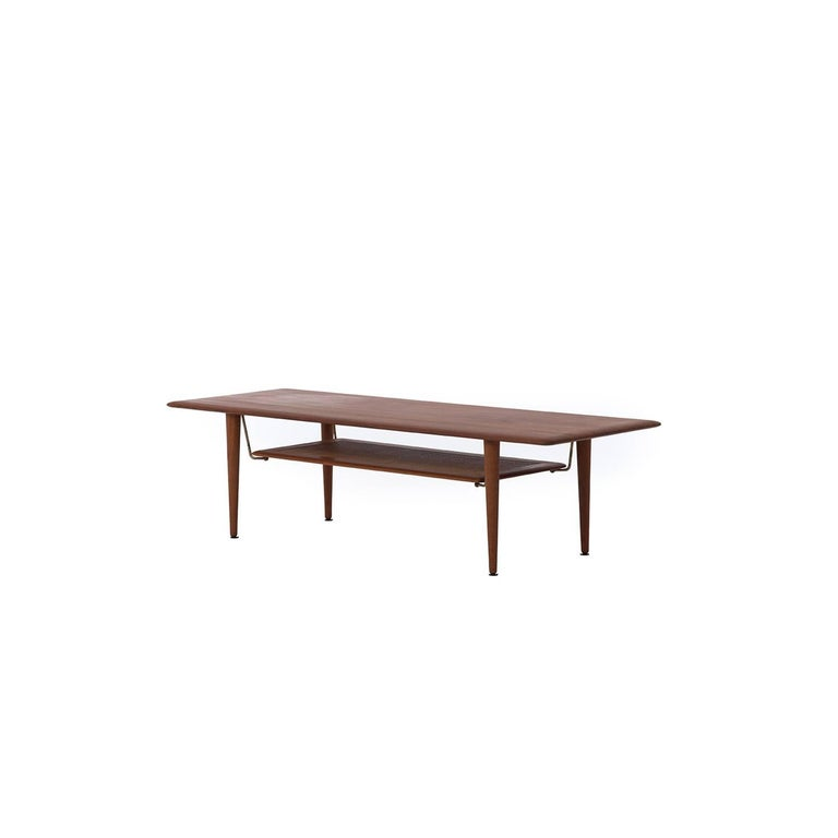 Danish Modern Solid Teak Coffee Table With Cane Shelf For Sale At 1stdibs