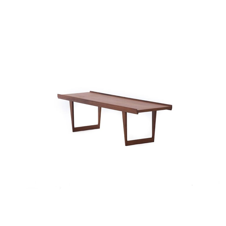 Danish Modern Low Teak Coffee Table With Sled Base By