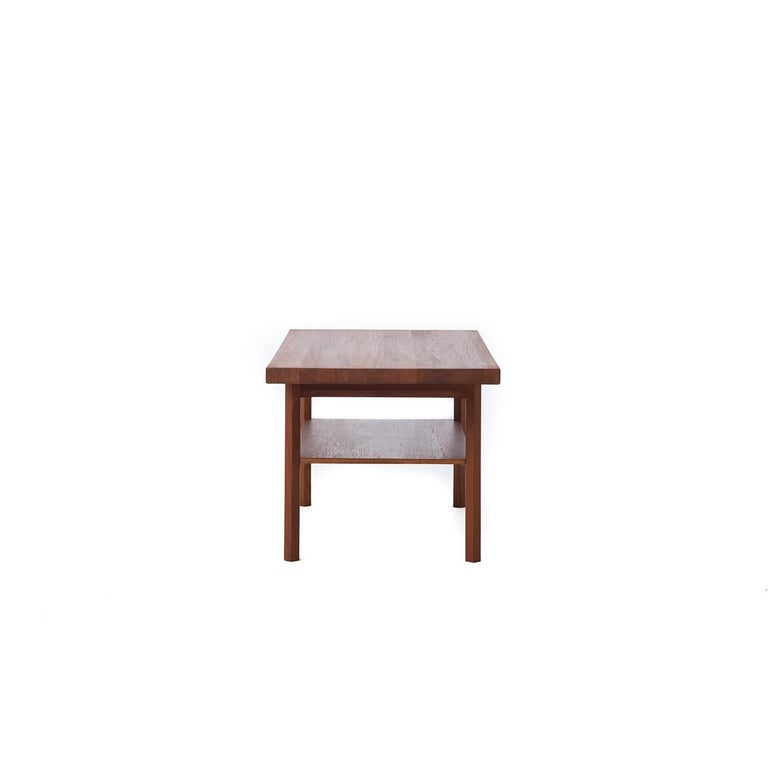 Solid Wood Block Coffee Table: Danish Modern Butcher Block Solid Wood Coffee Table With