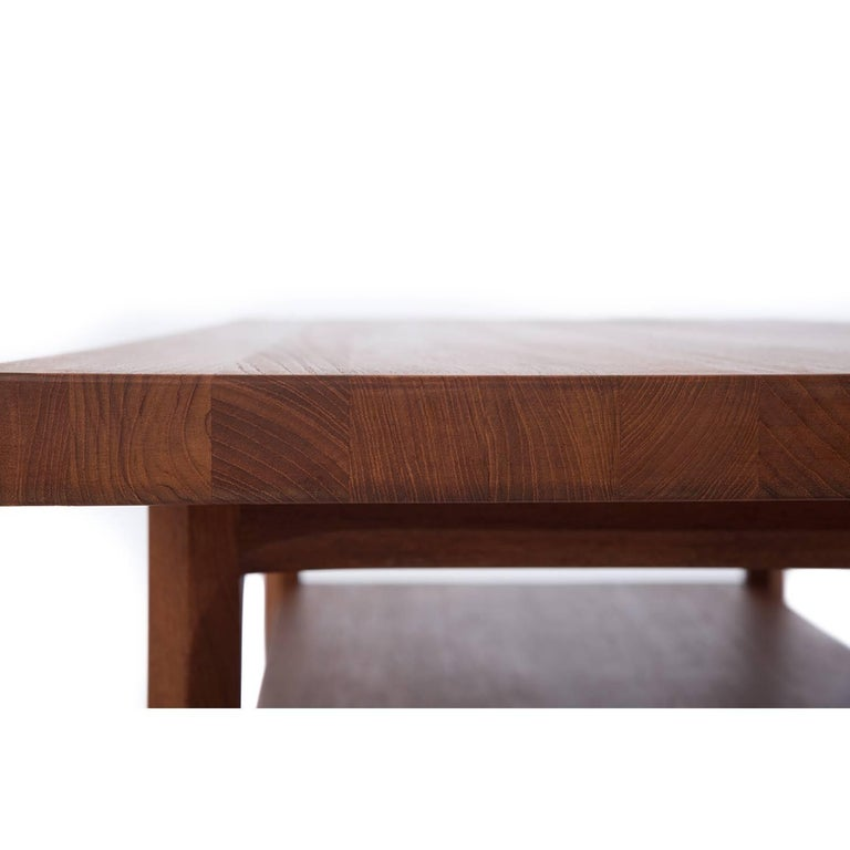 Danish Modern Butcher Block Solid Wood Coffee Table with Hexagon Shaped Leg In Excellent Condition For Sale In Minneapolis, MN