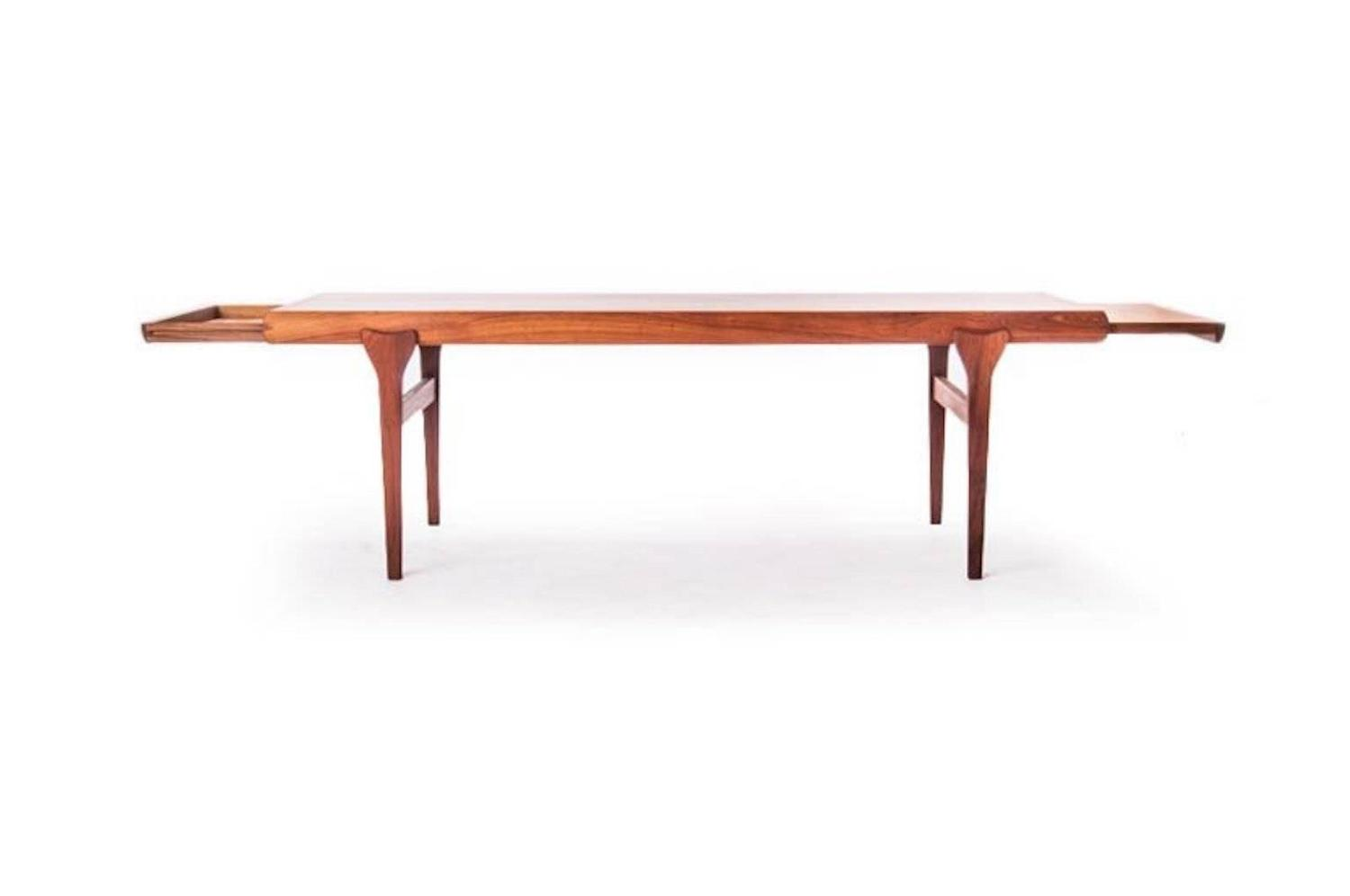 danish modern coffee table with retractable shelves for sale at 1stdibs. Black Bedroom Furniture Sets. Home Design Ideas