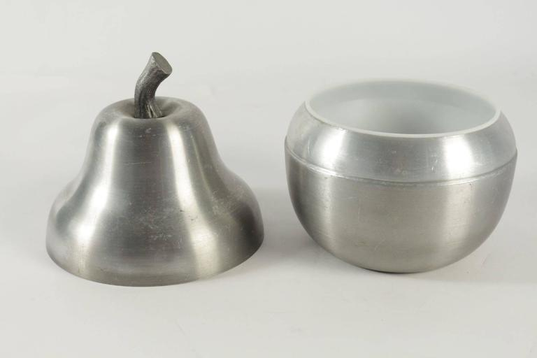Modern Cool Ice Bucket in the Shape of a Pear in Brushed Aluminum from the 1970s  For Sale