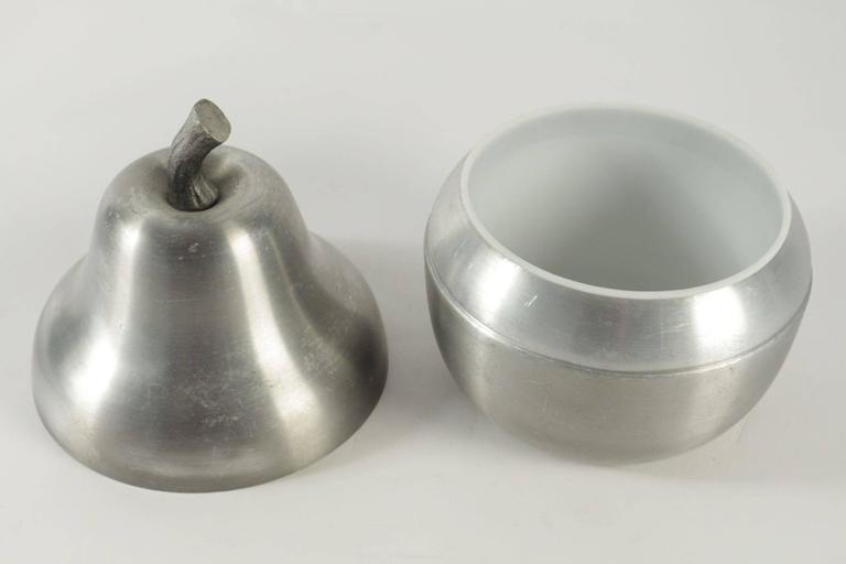 Late 20th Century Cool Ice Bucket in the Shape of a Pear in Brushed Aluminum from the 1970s  For Sale