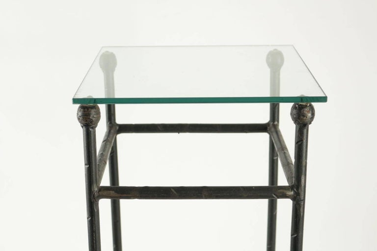 Two Consoles in Wrought Iron under Glass in an Industrial Style 20th Century For Sale 1