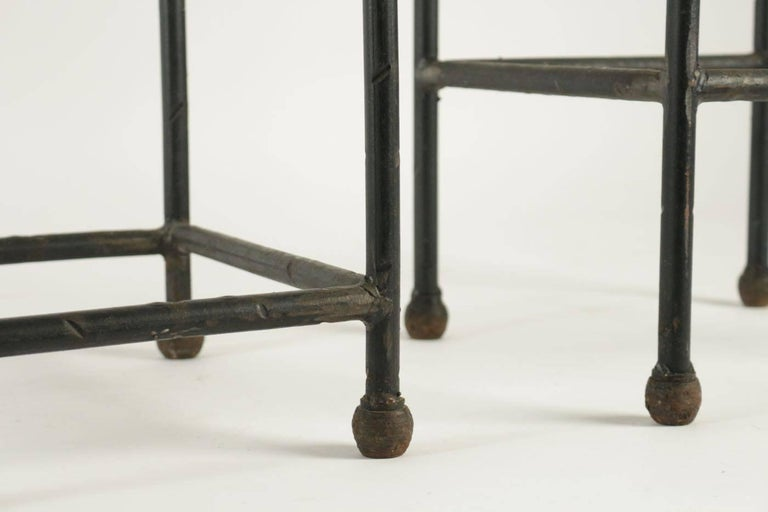 French Two Consoles in Wrought Iron under Glass in an Industrial Style 20th Century For Sale