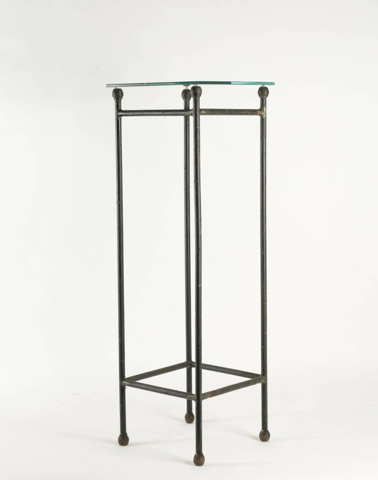 Two Consoles in Wrought Iron under Glass in an Industrial Style 20th Century For Sale 3