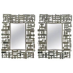 Pair of Mirrors, Art Moderne, bevelled edged mirror in stainless steel and resin