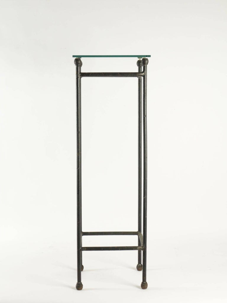 Two Consoles in Wrought Iron under Glass in an Industrial Style 20th Century For Sale 5